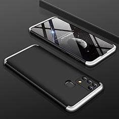 Samsung Galaxy M21s用ハードケース プラスチック 質感もマット 前面と背面 360度 フルカバー サムスン シルバー・ブラック