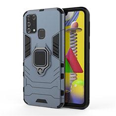 Samsung Galaxy M31 Prime Edition用ハイブリットバンパーケース プラスチック アンド指輪 マグネット式 サムスン ネイビー