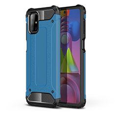 Samsung Galaxy M51用ハイブリットバンパーケース プラスチック 兼シリコーン カバー U01 サムスン ブルー