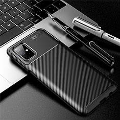 Samsung Galaxy M51用シリコンケース ソフトタッチラバー ツイル カバー サムスン ブラック