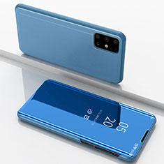 Samsung Galaxy M51用手帳型 レザーケース スタンド 鏡面 カバー サムスン ネイビー