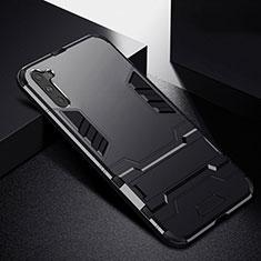 Samsung Galaxy Note 10 5G用ハイブリットバンパーケース スタンド プラスチック 兼シリコーン カバー R02 サムスン ブラック