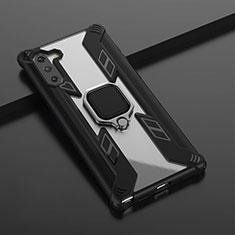 Samsung Galaxy Note 10 5G用ハイブリットバンパーケース プラスチック アンド指輪 マグネット式 R01 サムスン ブラック