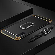 Samsung Galaxy Note 10 5G用ケース 高級感 手触り良い メタル兼プラスチック バンパー アンド指輪 T01 サムスン ブラック
