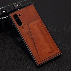 Samsung Galaxy Note 10 5G用ケース 高級感 手触り良いレザー柄 R07 サムスン ブラウン
