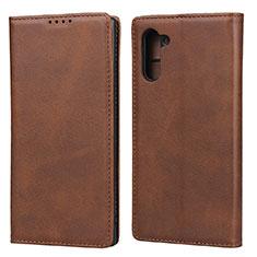 Samsung Galaxy Note 10 5G用手帳型 レザーケース スタンド カバー サムスン ブラウン
