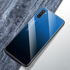 Samsung Galaxy Note 10 5G用ハイブリットバンパーケース プラスチック 鏡面 虹 グラデーション 勾配色 カバー サムスン ネイビー