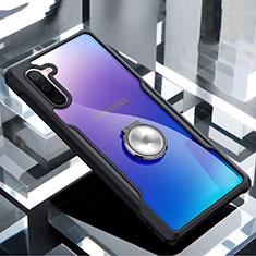 Samsung Galaxy Note 10 5G用360度 フルカバーハイブリットバンパーケース クリア透明 プラスチック 鏡面 アンド指輪 マグネット式 サムスン ブラック