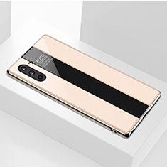 Samsung Galaxy Note 10 5G用ハイブリットバンパーケース プラスチック 鏡面 カバー サムスン ゴールド