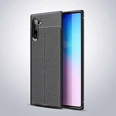 Samsung Galaxy Note 10 5G用シリコンケース ソフトタッチラバー レザー柄 サムスン ブラック