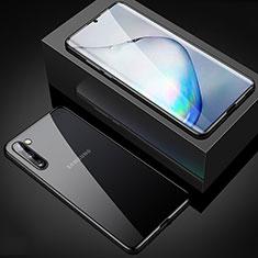Samsung Galaxy Note 10 5G用ケース 高級感 手触り良い アルミメタル 製の金属製 360度 フルカバーバンパー 鏡面 カバー M04 サムスン ブラック