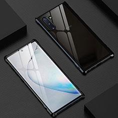Samsung Galaxy Note 10 5G用ケース 高級感 手触り良い アルミメタル 製の金属製 360度 フルカバーバンパー 鏡面 カバー M06 サムスン ブラック