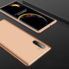 Samsung Galaxy Note 10 5G用ハードケース プラスチック 質感もマット 前面と背面 360度 フルカバー サムスン ゴールド