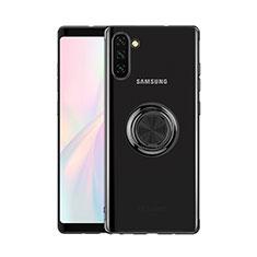 Samsung Galaxy Note 10 5G用極薄ソフトケース シリコンケース 耐衝撃 全面保護 クリア透明 アンド指輪 マグネット式 S01 サムスン ブラック
