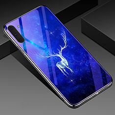 Samsung Galaxy Note 10 5G用ハイブリットバンパーケース プラスチック パターン 鏡面 カバー S02 サムスン ネイビー