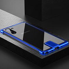 Samsung Galaxy Note 10 5G用ケース 高級感 手触り良い アルミメタル 製の金属製 360度 フルカバーバンパー 鏡面 カバー M05 サムスン ネイビー