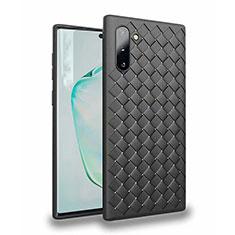 Samsung Galaxy Note 10 5G用シリコンケース ソフトタッチラバー レザー柄 カバー S02 サムスン ブラック