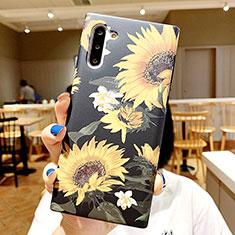 Samsung Galaxy Note 10 5G用シリコンケース ソフトタッチラバー 花 カバー S01 サムスン マルチカラー
