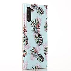 Samsung Galaxy Note 10 5G用シリコンケース ソフトタッチラバー バタフライ フルーツ カバー S01 サムスン シアン
