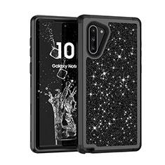 Samsung Galaxy Note 10 5G用ハイブリットバンパーケース ブリンブリン カバー 前面と背面 360度 フル サムスン ブラック