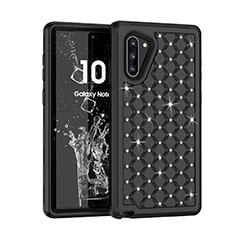 Samsung Galaxy Note 10 5G用ハイブリットバンパーケース ブリンブリン カバー 前面と背面 360度 フル U01 サムスン ブラック