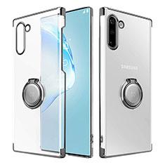 Samsung Galaxy Note 10 5G用ハードカバー クリスタル クリア透明 アンド指輪 マグネット式 サムスン ブラック