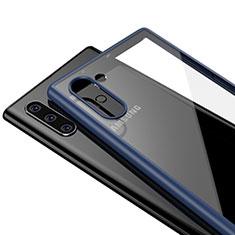 Samsung Galaxy Note 10用ハイブリットバンパーケース クリア透明 プラスチック 鏡面 カバー サムスン ネイビー