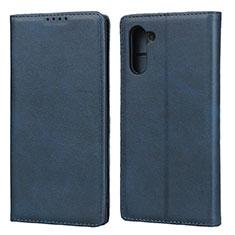 Samsung Galaxy Note 10用手帳型 レザーケース スタンド カバー サムスン ネイビー