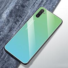 Samsung Galaxy Note 10用ハイブリットバンパーケース プラスチック 鏡面 虹 グラデーション 勾配色 カバー サムスン シアン