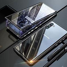 Samsung Galaxy Note 10用ケース 高級感 手触り良い アルミメタル 製の金属製 360度 フルカバーバンパー 鏡面 カバー M07 サムスン ブラック