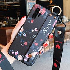 Samsung Galaxy Note 10 Plus 5G用シリコンケース ソフトタッチラバー 花 カバー K01 サムスン ブラック