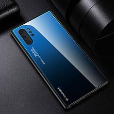 Samsung Galaxy Note 10 Plus 5G用ハイブリットバンパーケース プラスチック 鏡面 虹 グラデーション 勾配色 カバー H01 サムスン ネイビー