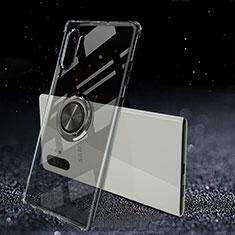 Samsung Galaxy Note 10 Plus 5G用極薄ソフトケース シリコンケース 耐衝撃 全面保護 クリア透明 アンド指輪 マグネット式 C02 サムスン ブラック