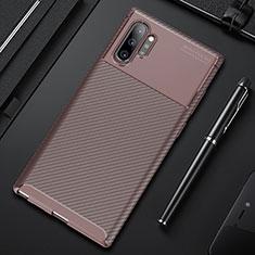 Samsung Galaxy Note 10 Plus 5G用シリコンケース ソフトタッチラバー ツイル カバー Y01 サムスン ブラウン