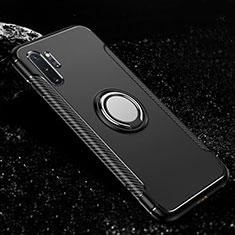 Samsung Galaxy Note 10 Plus 5G用ハイブリットバンパーケース プラスチック アンド指輪 マグネット式 R01 サムスン ブラック