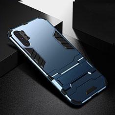 Samsung Galaxy Note 10 Plus 5G用ハイブリットバンパーケース スタンド プラスチック 兼シリコーン カバー R02 サムスン ネイビー
