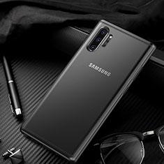 Samsung Galaxy Note 10 Plus 5G用ハイブリットバンパーケース クリア透明 プラスチック 鏡面 カバー H01 サムスン ブラック