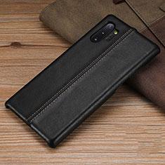 Samsung Galaxy Note 10 Plus 5G用ケース 高級感 手触り良いレザー柄 R03 サムスン ブラック