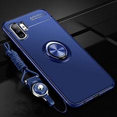 Samsung Galaxy Note 10 Plus 5G用極薄ソフトケース シリコンケース 耐衝撃 全面保護 アンド指輪 マグネット式 バンパー T03 サムスン ネイビー