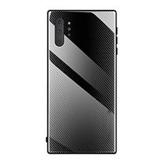 Samsung Galaxy Note 10 Plus 5G用ハイブリットバンパーケース プラスチック 鏡面 カバー T02 サムスン ブラック
