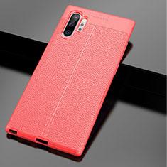 Samsung Galaxy Note 10 Plus 5G用シリコンケース ソフトタッチラバー レザー柄 G01 サムスン レッド