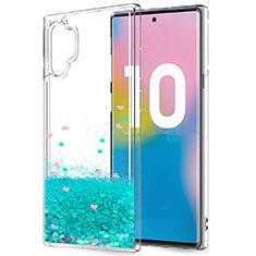 Samsung Galaxy Note 10 Plus 5G用極薄ソフトケース シリコンケース 耐衝撃 全面保護 クリア透明 花 サムスン グリーン