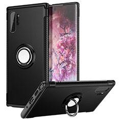 Samsung Galaxy Note 10 Plus 5G用ハイブリットバンパーケース プラスチック アンド指輪 マグネット式 S01 サムスン ブラック