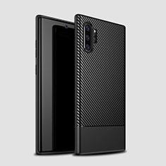 Samsung Galaxy Note 10 Plus 5G用シリコンケース ソフトタッチラバー ツイル カバー S01 サムスン ブラック