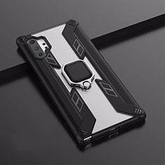 Samsung Galaxy Note 10 Plus 5G用ハイブリットバンパーケース スタンド プラスチック 兼シリコーン カバー マグネット式 A02 サムスン ブラック