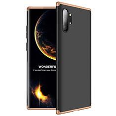 Samsung Galaxy Note 10 Plus 5G用ハードケース プラスチック 質感もマット 前面と背面 360度 フルカバー M01 サムスン ゴールド・ブラック