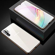 Samsung Galaxy Note 10 Plus 5G用ケース 高級感 手触り良い アルミメタル 製の金属製 360度 フルカバーバンパー 鏡面 カバー M05 サムスン ゴールド