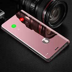 Samsung Galaxy Note 10 Plus 5G用手帳型 レザーケース スタンド 鏡面 カバー サムスン ローズゴールド