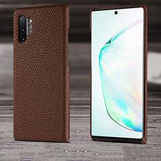 Samsung Galaxy Note 10 Plus 5G用ケース 高級感 手触り良いレザー柄 S03 サムスン ブラウン