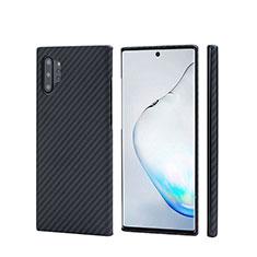Samsung Galaxy Note 10 Plus 5G用炭素繊維ケース ソフトタッチラバー ツイル カバー C01 サムスン ブラック